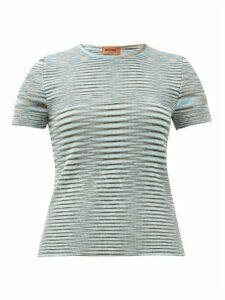 Missoni - Moiré-knit Round-neck Cotton Top - Womens - Blue Multi