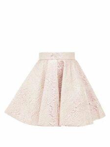 Dolce & Gabbana - High-rise Textured Metallic Mini Skirt - Womens - Pink Multi