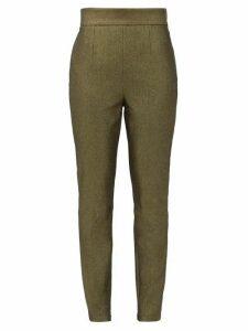 Dolce & Gabbana - High-rise Metallic Cotton-blend Trousers - Womens - Gold