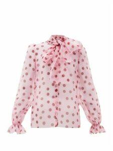 Dolce & Gabbana - Polka Dot-print Pussy-bow Organza Blouse - Womens - Pink Multi