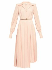 Fendi - Gloria Belted Cotton-poplin Shirtdress - Womens - Pink