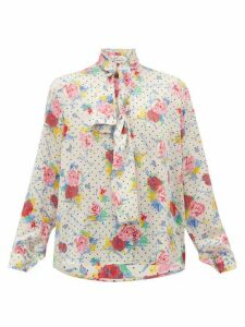 Balenciaga - Pussy-bow Floral-print Silk-crepe Blouse - Womens - Cream Multi