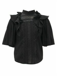 Isabel Marant - Ioleya Ruffled Lace Cotton-blend Top - Womens - Black