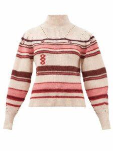 Isabel Marant Étoile - Georgie Striped Alpaca-blend Sweater - Womens - Pink Multi