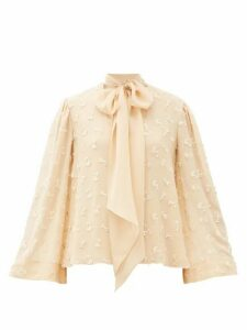 Chloé - Pussy-bow Guipure Lace-embroidered Silk Blouse - Womens - Cream