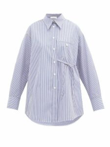 Chloé - Side-tie Striped Cotton-poplin Shirt - Womens - Blue White