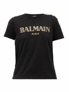 Balmain - Buttoned-shoulder Logo-print Cotton T-shirt - Womens - Black Gold