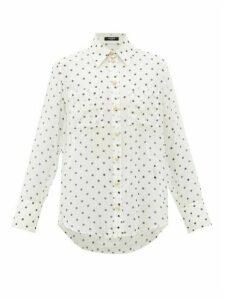 Balmain - Polka-dot Silk Blouse - Womens - White Black