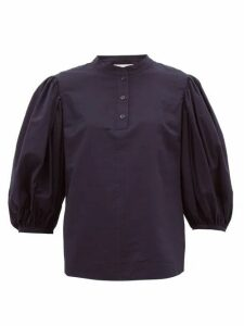 See By Chloé - Puffed-sleeve Cotton Blouse - Womens - Dark Navy