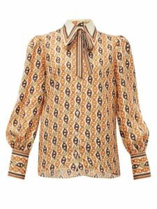 Gucci - Neck-tie Chain-print Silk Blouse - Womens - Orange