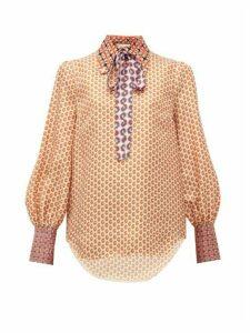 Gucci - Logo-print Silk Blouse - Womens - Ivory