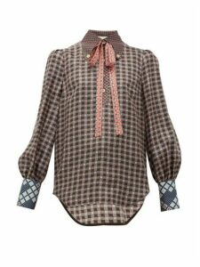 Gucci - Neck-tie Gg-print Silk-satin Shirt - Womens - Brown