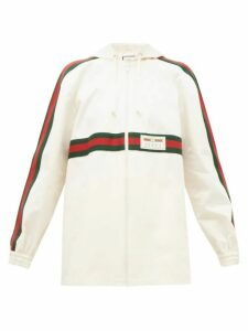 Gucci - Web-striped Back-pleat Cotton Jacket - Womens - Ivory Multi
