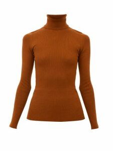 Gucci - Logo-embroidered Wool-blend Roll-neck Sweater - Womens - Orange