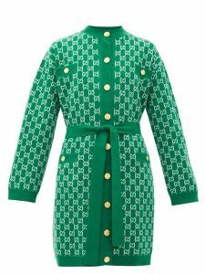 Gucci - Gg-jacquard Belted Wool Cardigan - Womens - Green