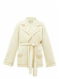 Gucci - Lurex-striped Wool-blend Belted Cardigan - Womens - Ivory
