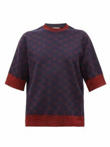 Gucci - Gg-logo Jacquard Wool-blend Short-sleeved Sweater - Womens - Blue Multi