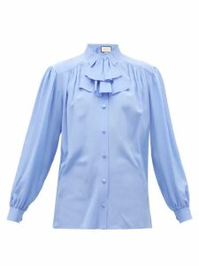 Gucci - Detachable-ruffle Silk-crepe Blouse - Womens - Blue