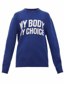 Gucci - My Body My Choice Intarsia-knit Wool Sweater - Womens - Blue