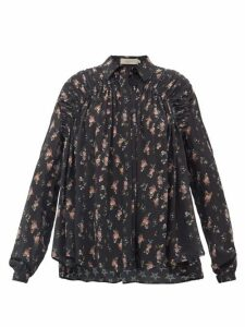 Preen Line - Winnie Gathered Floral-print Crepe De Chine Blouse - Womens - Black Pink