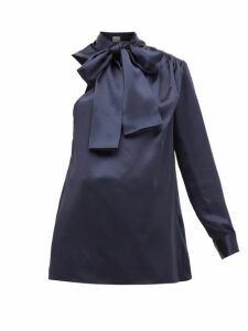 Hillier Bartley - One-sleeve Pussy-bow Silk-charmeuse Blouse - Womens - Navy