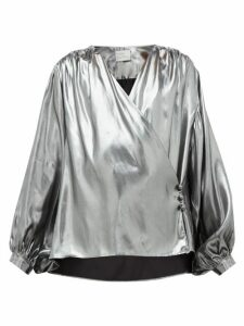 Hillier Bartley - Wrap-front Silk-lamé Blouse - Womens - Silver