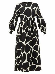 Valentino - 1966 Giraffe-print Wool-blend Dress - Womens - Black White