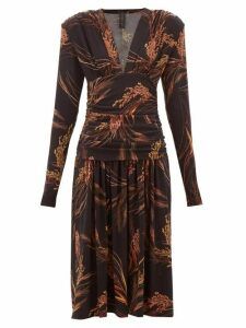 Norma Kamali - Exaggerated-shoulder Wheat-print Dress - Womens - Brown Print