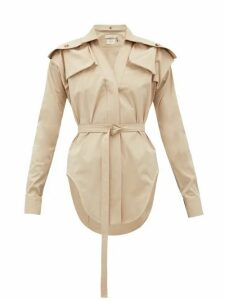 Bottega Veneta - Belted Stretch-cotton Safari Shirt - Womens - Beige