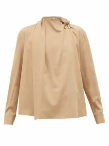 Bottega Veneta - Draped Wool-gabardine Blouse - Womens - Beige