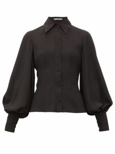 Emilia Wickstead - Raven Bishop-sleeve Slim-fit Crepe Shirt - Womens - Black
