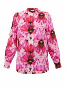 Alexander Mcqueen - Floral-print Silk-crepe Blouse - Womens - Pink Multi