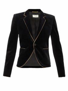 Saint Laurent - Single-breasted Velvet Blazer - Womens - Black