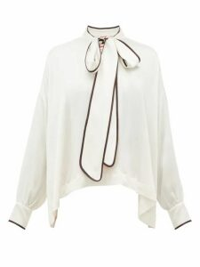 F.r.s - For Restless Sleepers - Alethia Pussy-bow Hammered-silk Blouse - Womens - White Multi