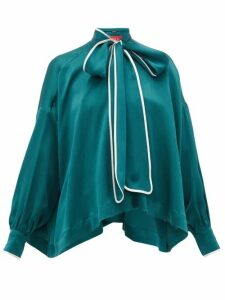 F.r.s - For Restless Sleepers - Alethia Pussy-bow Silk Blouse - Womens - Green Multi
