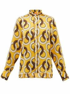 F.r.s - For Restless Sleepers - Eurito Circle-print Hammered-silk Blouse - Womens - Yellow Multi