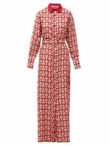 F.r.s - For Restless Sleepers - Elpis Circle-print Silk-twill Shirtdress - Womens - Pink Multi