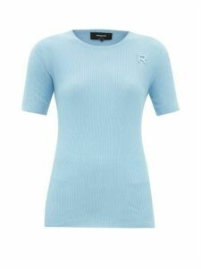Rochas - Monogram-embroidered Ribbed-cotton T-shirt - Womens - Light Blue