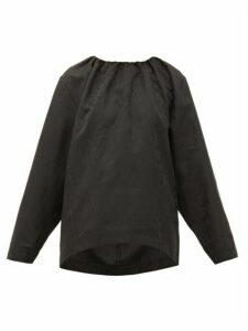 Totême - Vibrac Gathered-neck Jacquard Blouse - Womens - Black