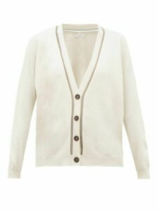 Brunello Cucinelli - Metallic Beaded-trim V-neck Cashmere Cardigan - Womens - Ivory