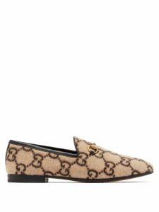 Gucci - Jordaan Gg-print Felt Loafers - Womens - Beige Multi