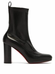 Christian Louboutin - Contrevent 100 Bonded-leather Ankle Boots - Womens - Black