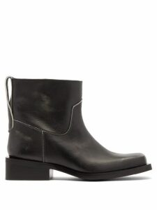 Ganni - Mc Distressed Leather Western Boots - Womens - Black
