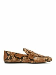 Joseph - Python-embossed Collapsible-heel Leather Loafers - Womens - Black Tan