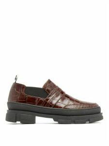 Ganni - Flatform Crocodile-effect Leather Loafers - Womens - Dark Brown