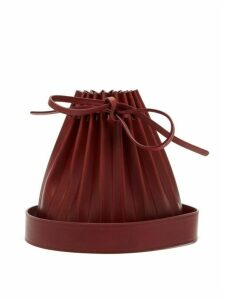 Mansur Gavriel - Pleated Leather Bucket Bag - Womens - Burgundy