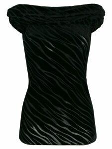 Emporio Armani off-the-shoulder velvet devoré top - Black