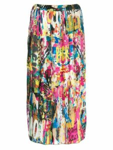 Ultràchic mural print pleated skirt - White
