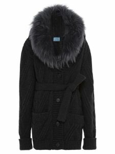 Prada fur collar knitted cardigan - Grey