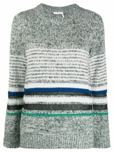 See By Chloé striped mélange knit jumper - Green